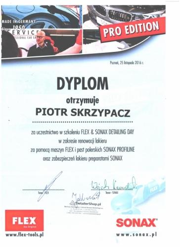 Certyfikat Sonax Piotr